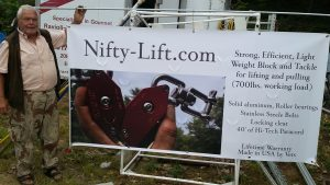 Nifty-Lift block and tackle pulley system banner. This pulley block comes in two models the Deluxe has a locking cleat and is anodized red. The 'Basic' is silver and has no cleat. It's more for your horizontal pulling.